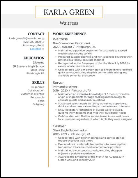 wait staff resume