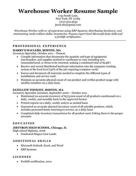 Sample Resume For Entry Level Warehouse Warehouse Resume Objective Best Sample Resume