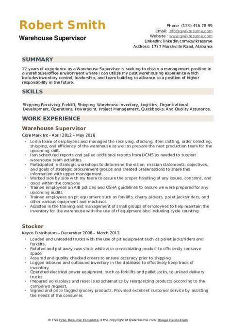 Sample Resume Mcdonalds Manager Warehouse Supervisor Resume Sample