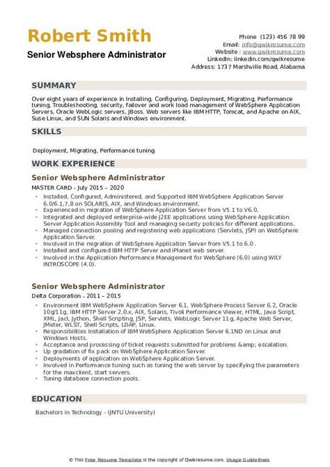 sample resume websphere administrator letterhead template army
