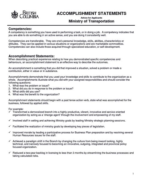 sample resume accomplishment statements writing accomplishment statements career services resume accomplishment samples