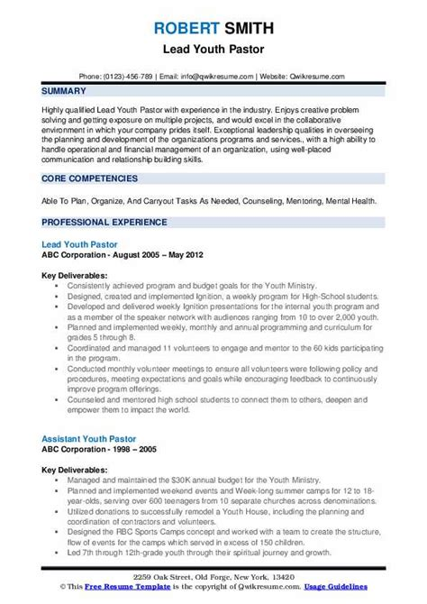 Sample Resume For Youth Ministry Youth Pastor Job Description O Great Sample Resume