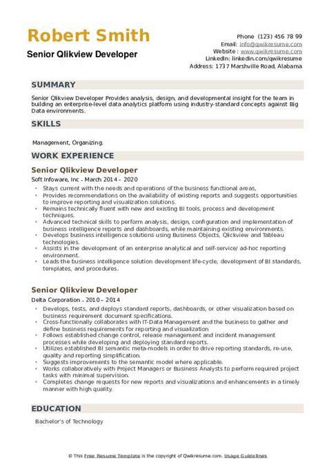 Sample Resumes For Qlikview Qlikview Developer Resume Sample Developer Resumes