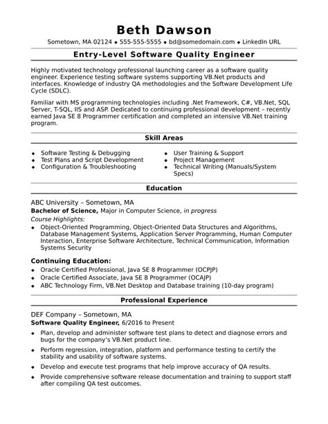 Sample Resumes For Qa Tester Quality Engineer Resume Sample Three Production Resume