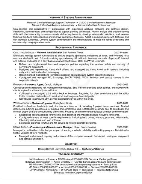 sample resumes for vmware administrator sample network administrator resume 1 network