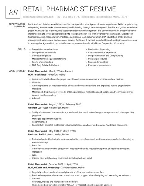 sample retail pharmacist resume pharmacist resume free sample resumes - Retail Pharmacist Resume