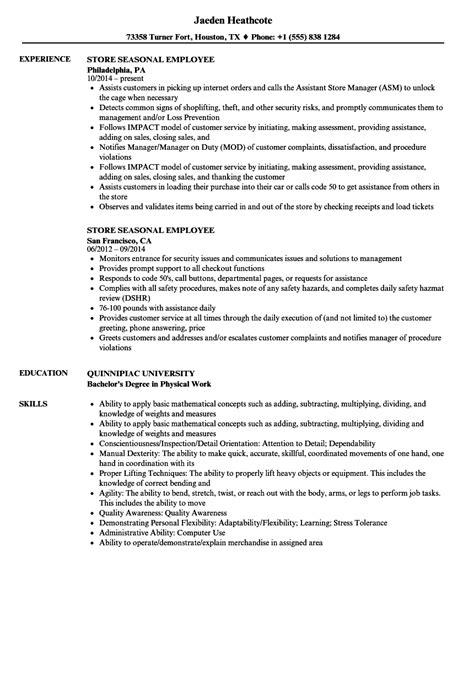 Resume Sample Resume Seasonal Job sample resume seasonal job letter format paper retail employment resume