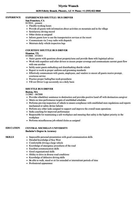 shuttle bus driver resume