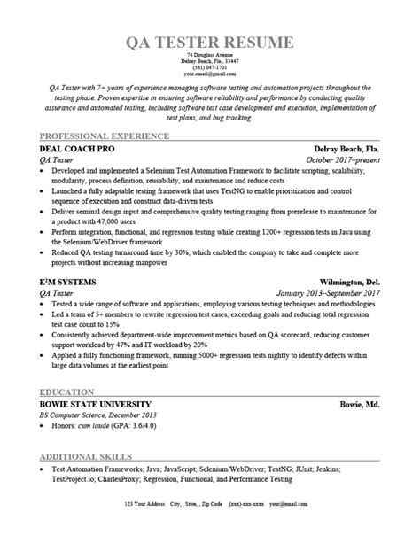 sample testing resume with banking experience sample resume for testing templates and examples - Software Testing Resume Samples