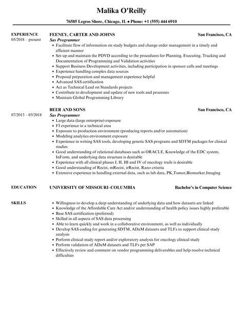 sample resume sas experience sas programmer resume sample free resume builder senior programmer resume