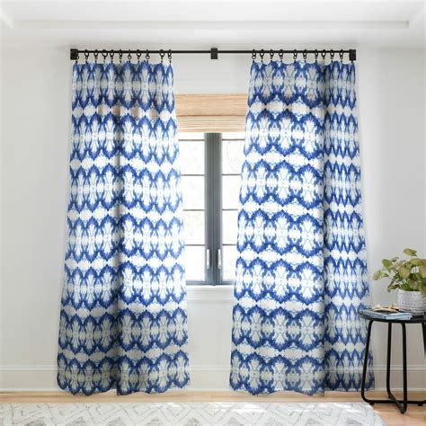 Schatzi Water Love Number 6 Geometric Sheer Pinch Pleat Single Curtain Pane by