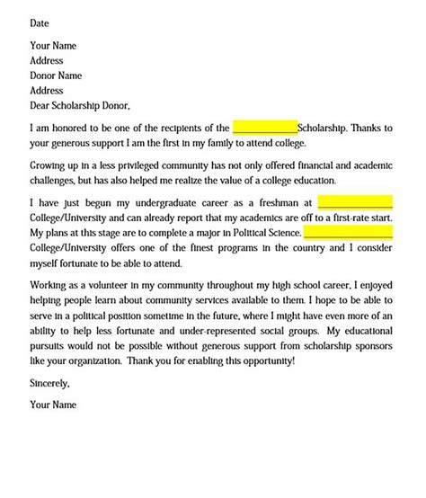 scholarship donor letter thank you letter for scholarship