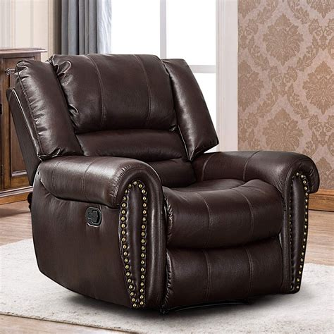 Schrager Overstuffed Leather Manual Recliner