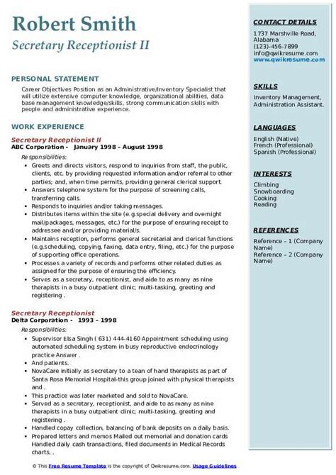 secretary receptionist resume objective objectives for secretary resumes preferredresumes - Secretary Objective For Resume Examples