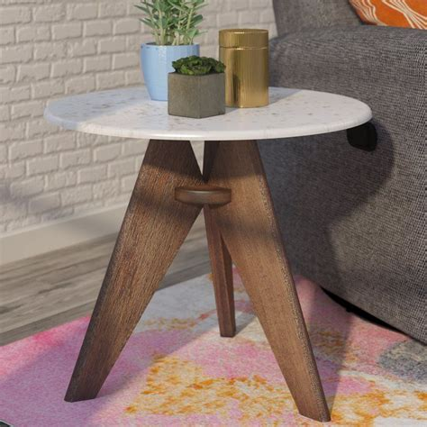 Seleucia Tall Marble and Wood End Table