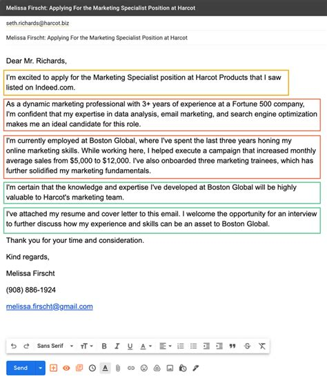 Send Cover Letter And Resume By Email Email Cover Letter Sample And Tips The Balance