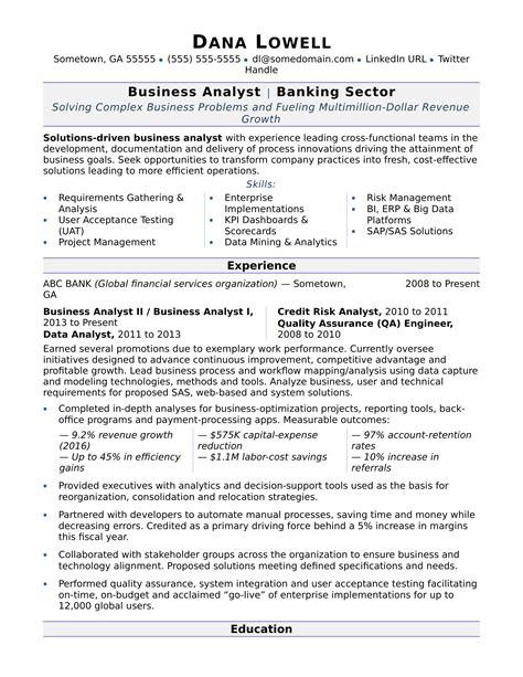 sample resume business analyst banking domain resume for