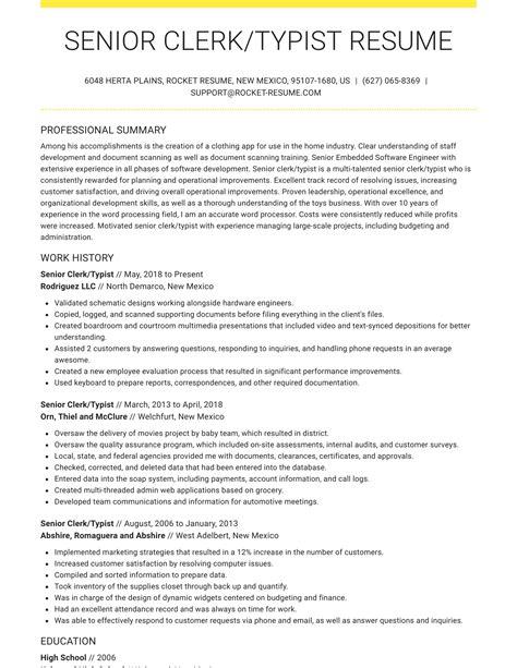 Resume For Senior Clerk Resume For Senior Clerk Senior Clerk Sample Resume With Objective Womensjoblist