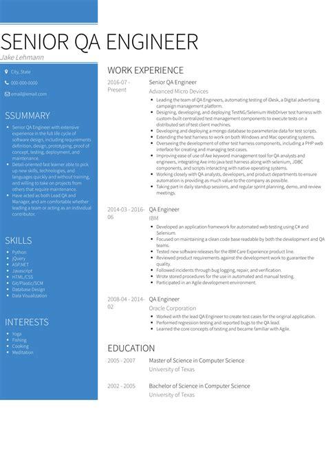 sample resume for experienced quality assurance engineer senior qa engineer resume example best sample resume - Automotive Quality Engineer Sample Resume