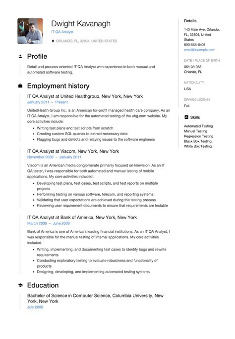 senior qa resume qa analyst resume sample quality assurance analyst resume qa resume samples