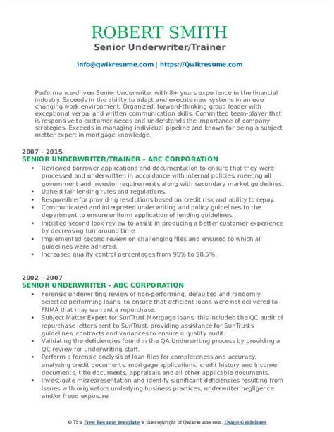 senior underwriter resume sample underwriter resume workbloom - Underwriter Resume Sample