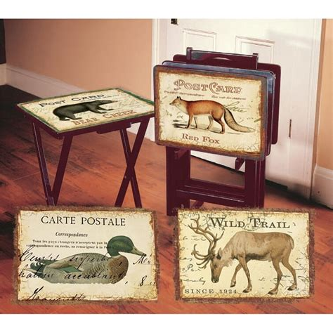 Senneterre Postcards 4 Piece TV Tray Set