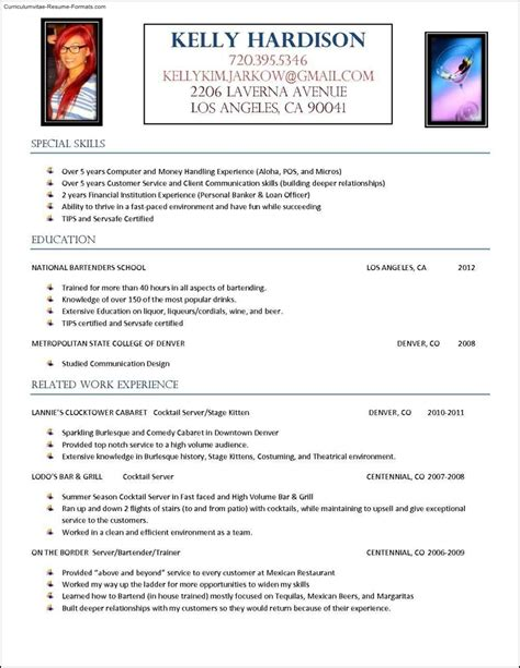 curriculum vitae sample bartender server bartender resume samples online cv builder and - Server Bartender Resume