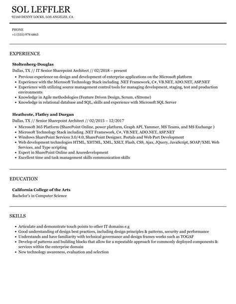 sharepoint architect resume samples sharepoint architect resume