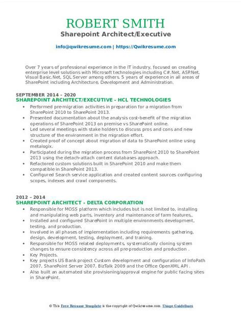 sharepoint architect resume samples how to find resume templates