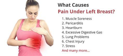 sharp pain on left side under breast when breathing