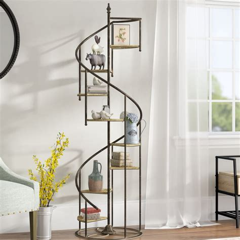 Shauna Spiral Staircase Etagere Bookcase