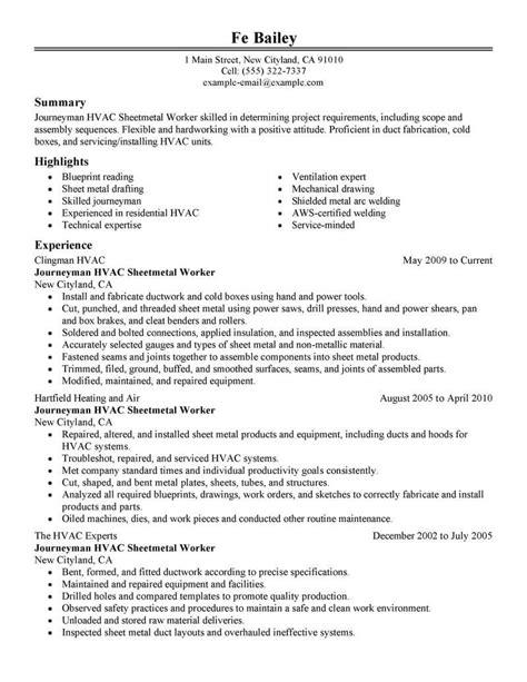 Sheet Metal Installer Resume Hvac Installer Resume Samples Jobhero