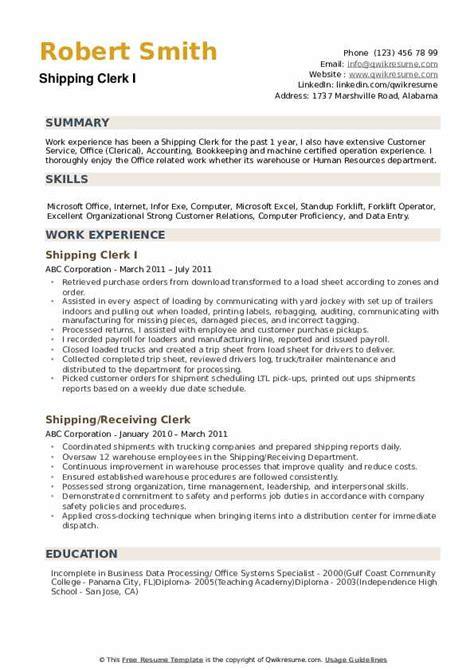 material clerk resume shipping clerk resume samples jobhero