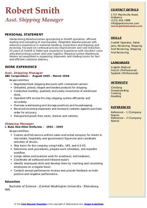 example of resume shipping and receiving shipping manager resume samples jobhero - Shipping And Receiving Resume Sample
