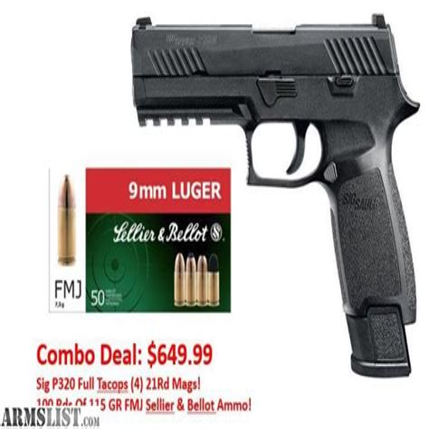 Sig-P320 Sig Sauer P320 Compact Ammunition 115 Grain Fmj.