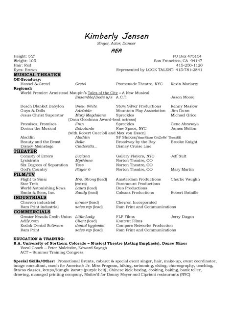 singer resume sample sample resumes resume my career - Singer Resume Sample