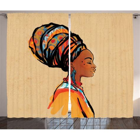 Slagelse Afro Graphic Print and Text Semi-Sheer Rod Pocket Curtain Panels (Set of 2 by