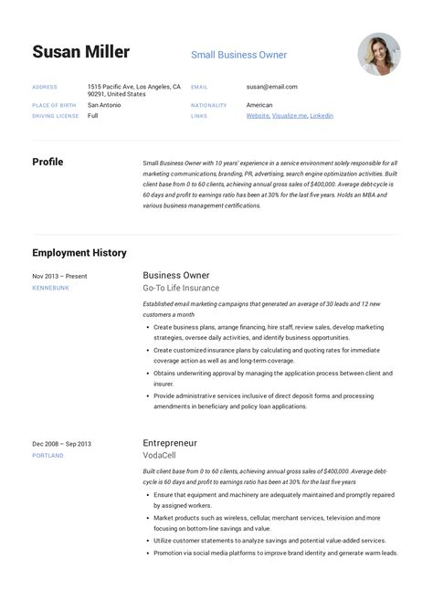 small business owner resume job description business resume template best sample resume