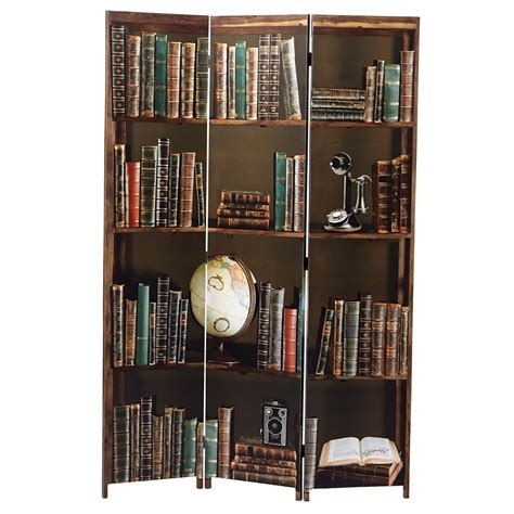 Sneed 71 x 48 Books 3 Panel Room Divider