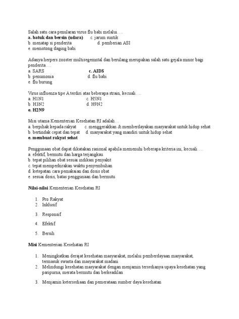 Contoh Soal Cpns Kementerian Kesehatan Pdf  Soal Soal Tkb Cpns Kemenkesdoc Scribd