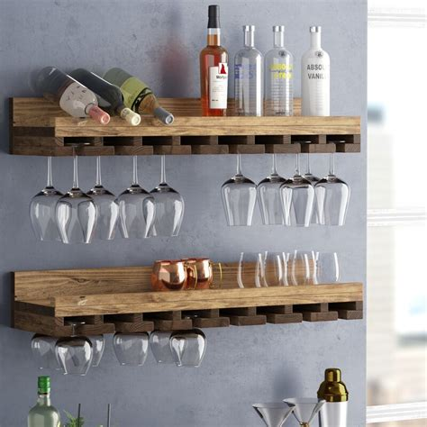 solid wood wall mounted wine glass rack