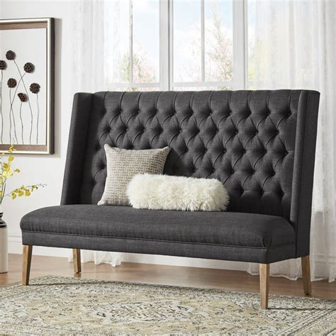 Solid Linen Tufted Upholstered Bedroom Bench