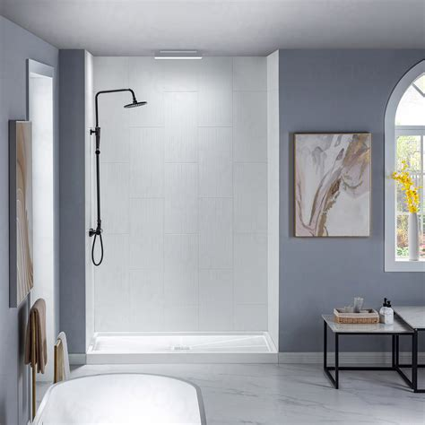 "Solid Surface 60"" x 60"" x 32"" Three Panel Shower Wall Kit"