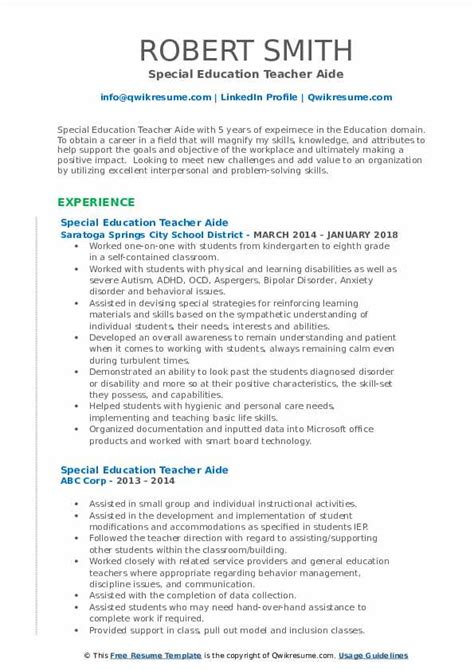 special education aide sample resume sample teacher aide resume - Teacher Aide Resume