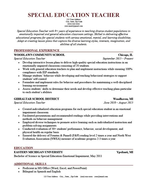 special education teacher resume examples 2014 teacher resume and cover letter examples