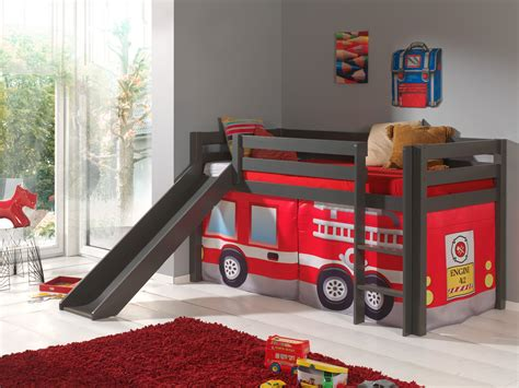 Spielbett Pino Feuerwehr Hochbett Kinderbett Rutsche 90 X 200 Cm