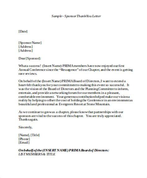 Sponsorship Thank You Letter Templates Sample Sponsorship Letter Templates Pr Helper