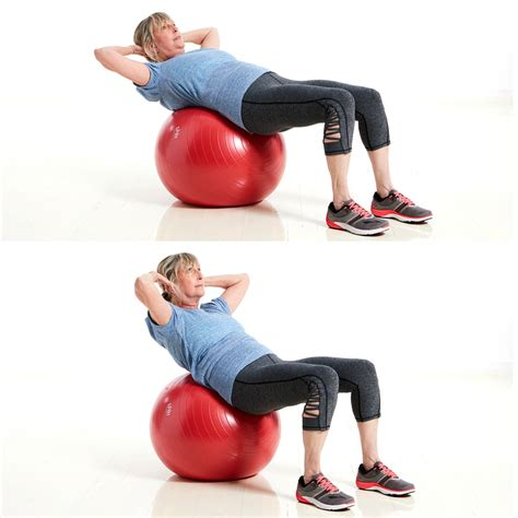stability ball crunch with weight