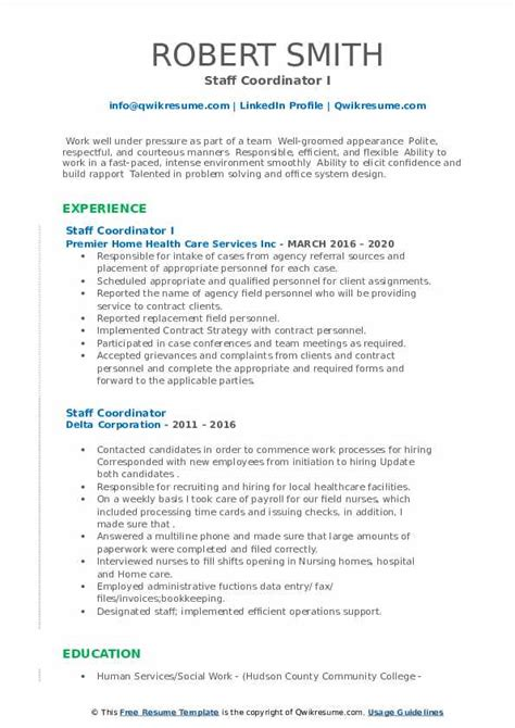staff coordinator resume nurse staffing coordinator resume example