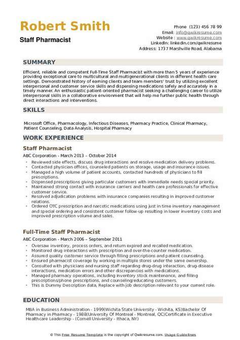 staff pharmacist resume sample pharmacist resume free sample resumes - Sample Of Pharmacist Resume
